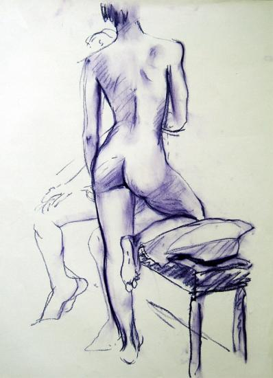 Girl with Knee on Stool
