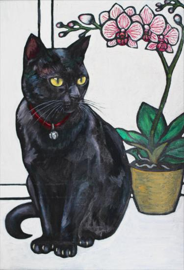 Black Cat with Orchid